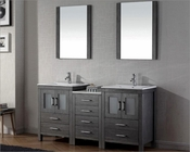 Virtu USA Zebra Grey Double Bathroom Set Dior VU-KD-70066-C-ZG