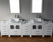 White 11in Double Bathroom Set Dior by Virtu USA VU-KD-700110-S-WH