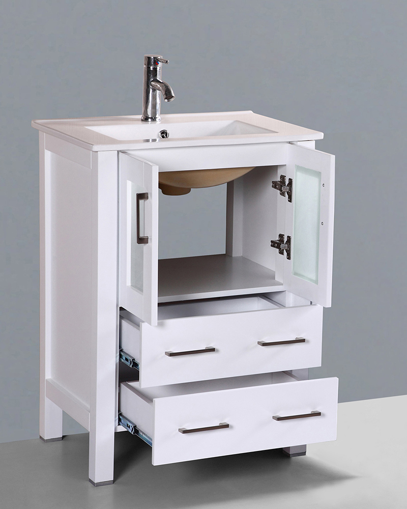 White 24in integrated sink single vanity by bosconi boaw124u for Single bathroom vanity