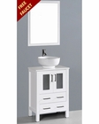 White 24in Round Vessel Sink Single Vanity by Bosconi BOAW124RO