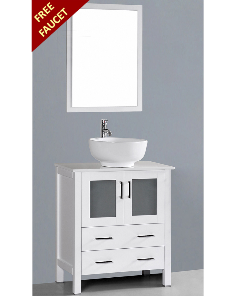 White 30in Round Vessel Sink Single Vanity By Bosconi