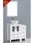 White 36in Round Vessel Sink Single Vanity by Bosconi BOAW124RO1S
