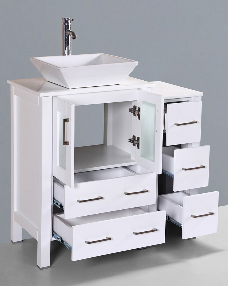 White 36in Square Vessel Sink Single Vanity By Bosconi