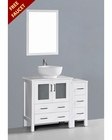 White 42in Round Vessel Sink Single Vanity by Bosconi BOAW130RO1S