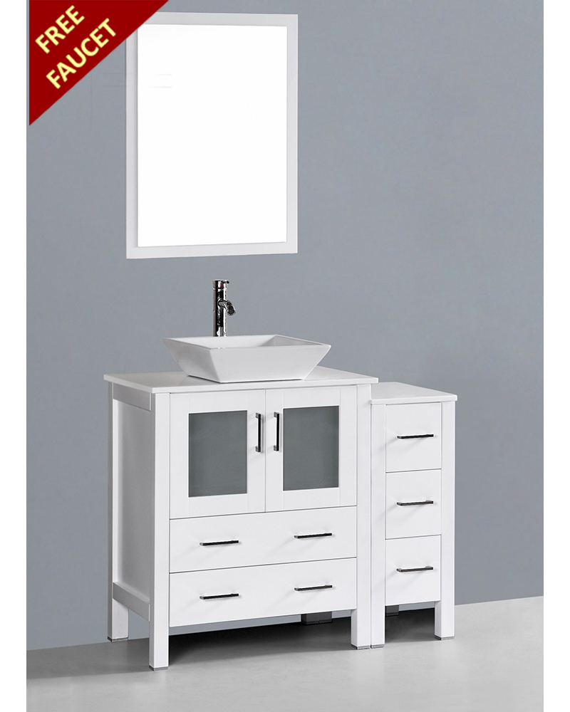 White 42in Square Vessel Sink Single Vanity By Bosconi