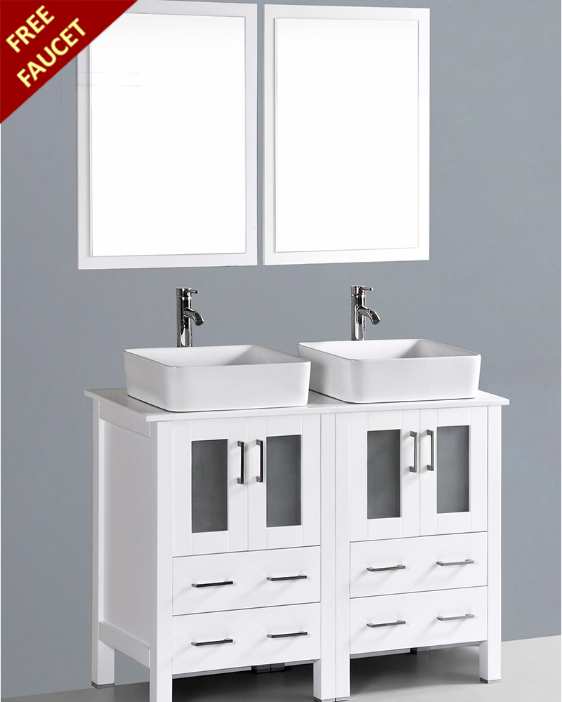 White 48in double rectangular vessel sink vanity by bosconi boaw224rc - Double sink vanity ...