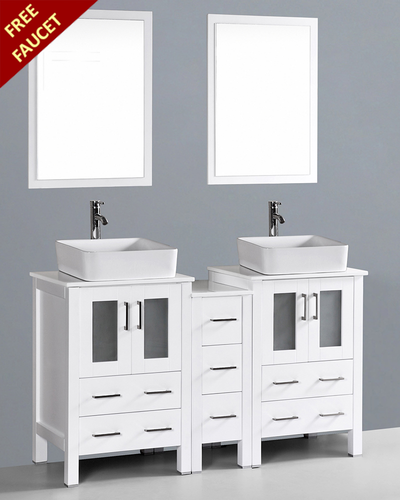 White 60in Double Rectangular Vessel Sink Vanity By