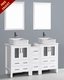 White 60in Double Rectangular Vessel Sink Vanity by Bosconi BOAW224RC1S