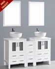 White 60in Double Round Vessel Sink Vanity by Bosconi BOAW224RO1S