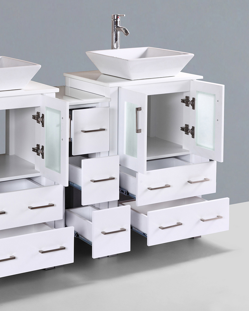 White 60in Square Vessel Sink Double Vanity By Bosconi