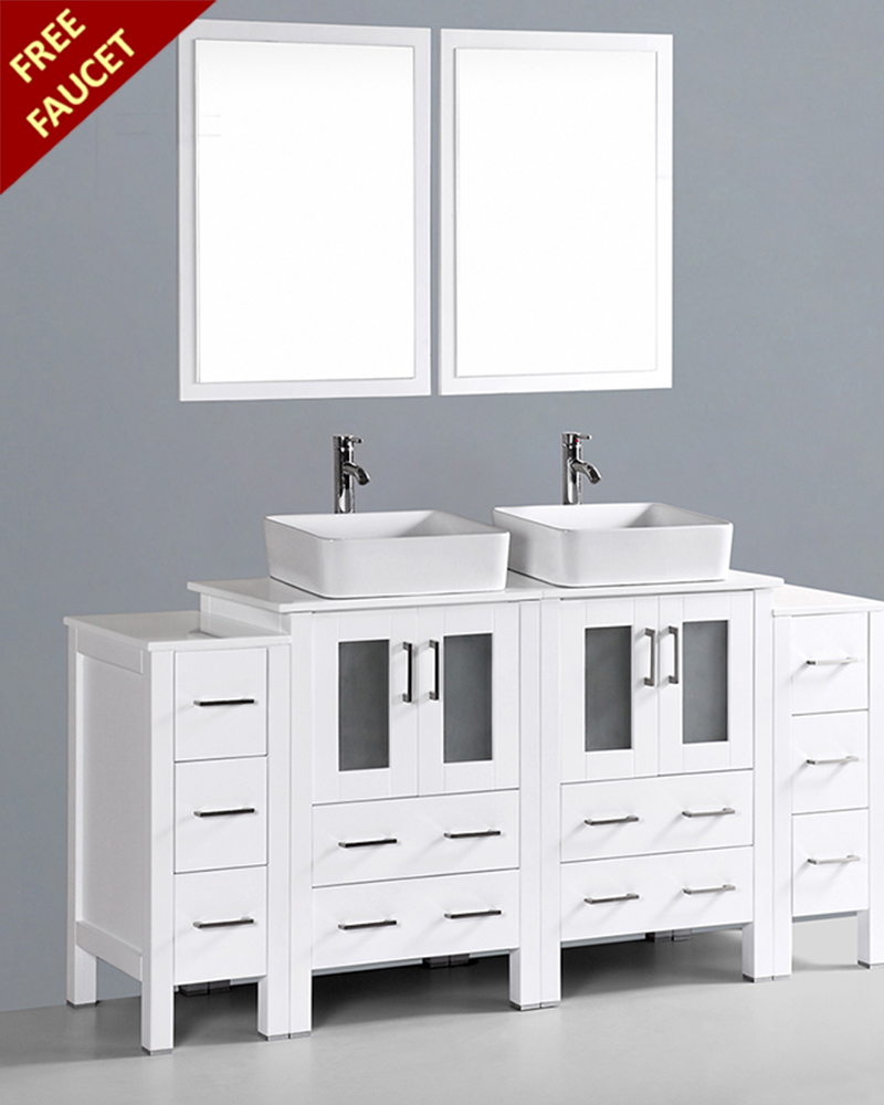 White 72in Double Rectangular Vessel Sink Vanity By Bosconi Aw224rc2s