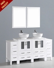 White 72in Double Round Vessel Sink Vanity by Bosconi BOAW224RO2S