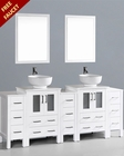 White 84in Double Round Vessel Sink Vanity by Bosconi BOAW224RO3S