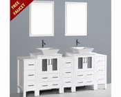 White 84in Square Vessel Sink Double Vanity by Bosconi BOAW224S3S