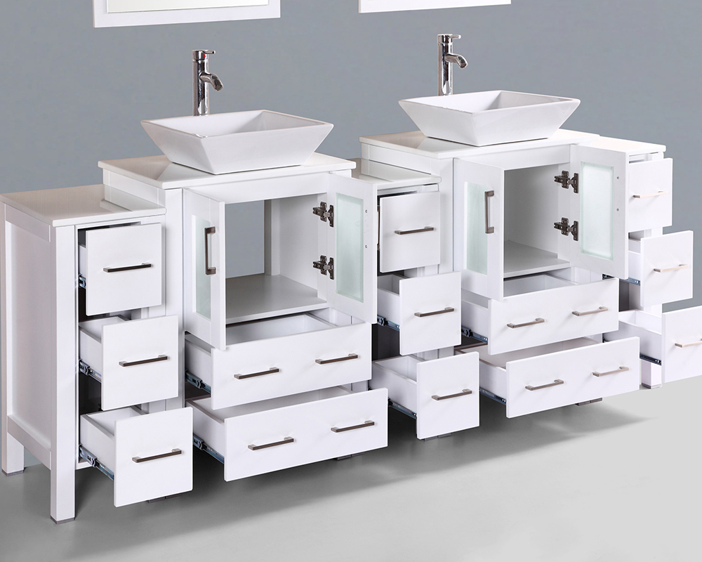 White 84in Square Vessel Sink Double Vanity By Bosconi