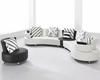 White and Black Bonded Leather Sectional Sofa Set 44L2803