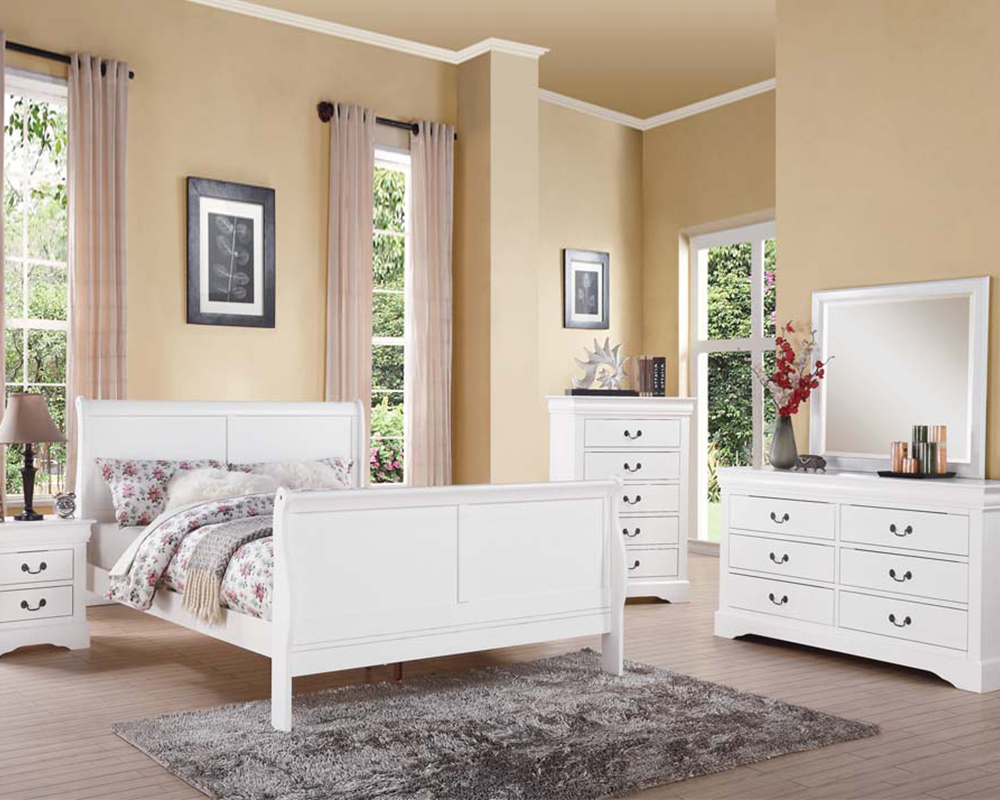 White bedroom set louis philippe iii by acme ac24500set - Louis philippe bedroom collection ...