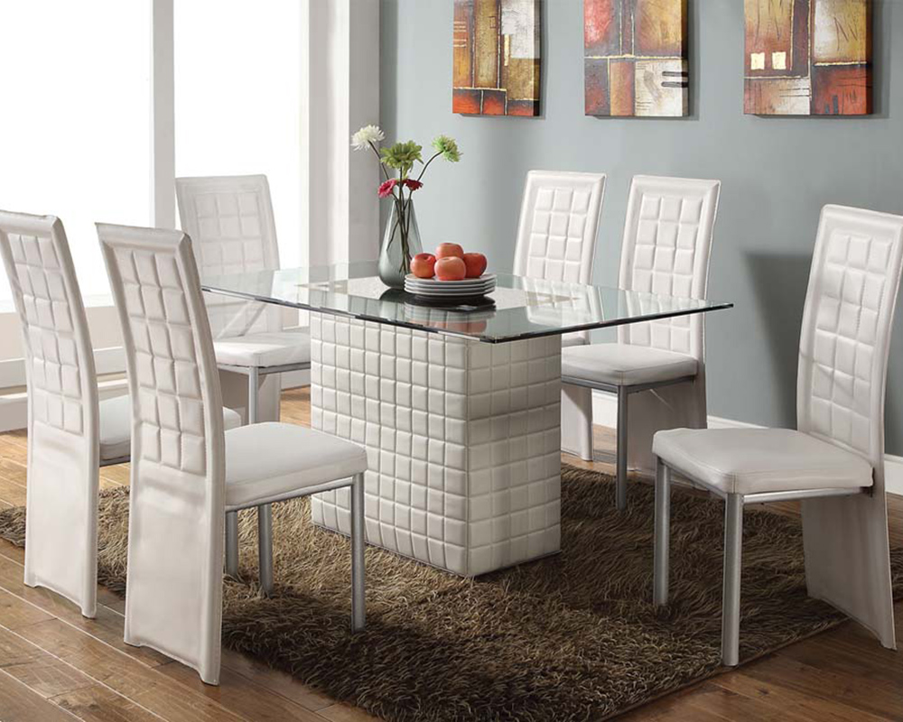 White Dining Set Abbie by Acme Furniture AC SET