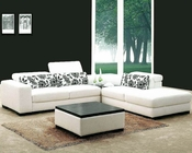 White Fabric 4pc Modern Sectional Sofa Set 44L0867