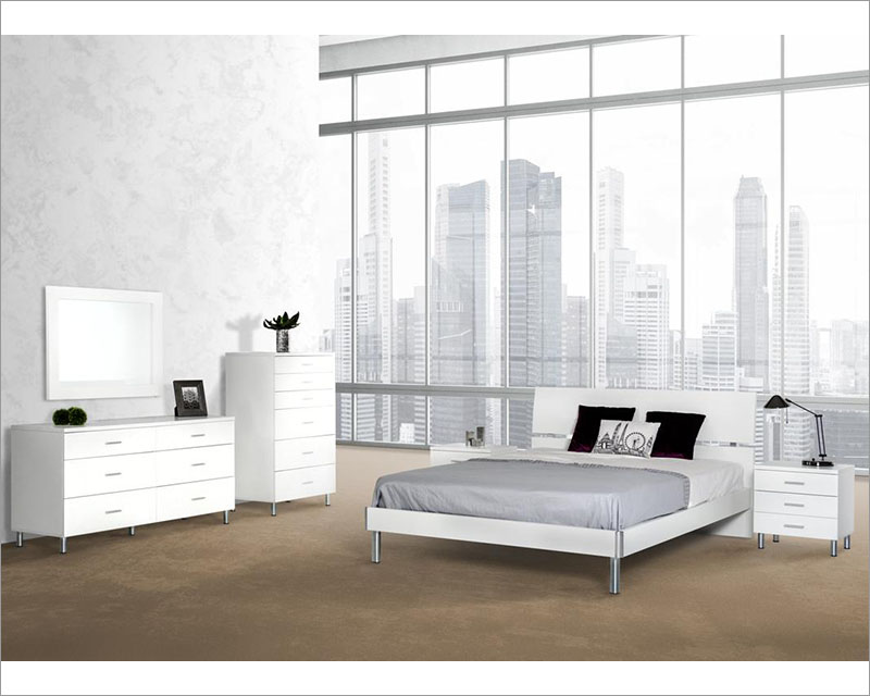 Awesome White Finish Bedroom Set In Contemporary Style 44B123Set Uwap Interior Chair Design Uwaporg