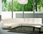 White Leather Contemporary Sectional Sofa Set 44LB240B