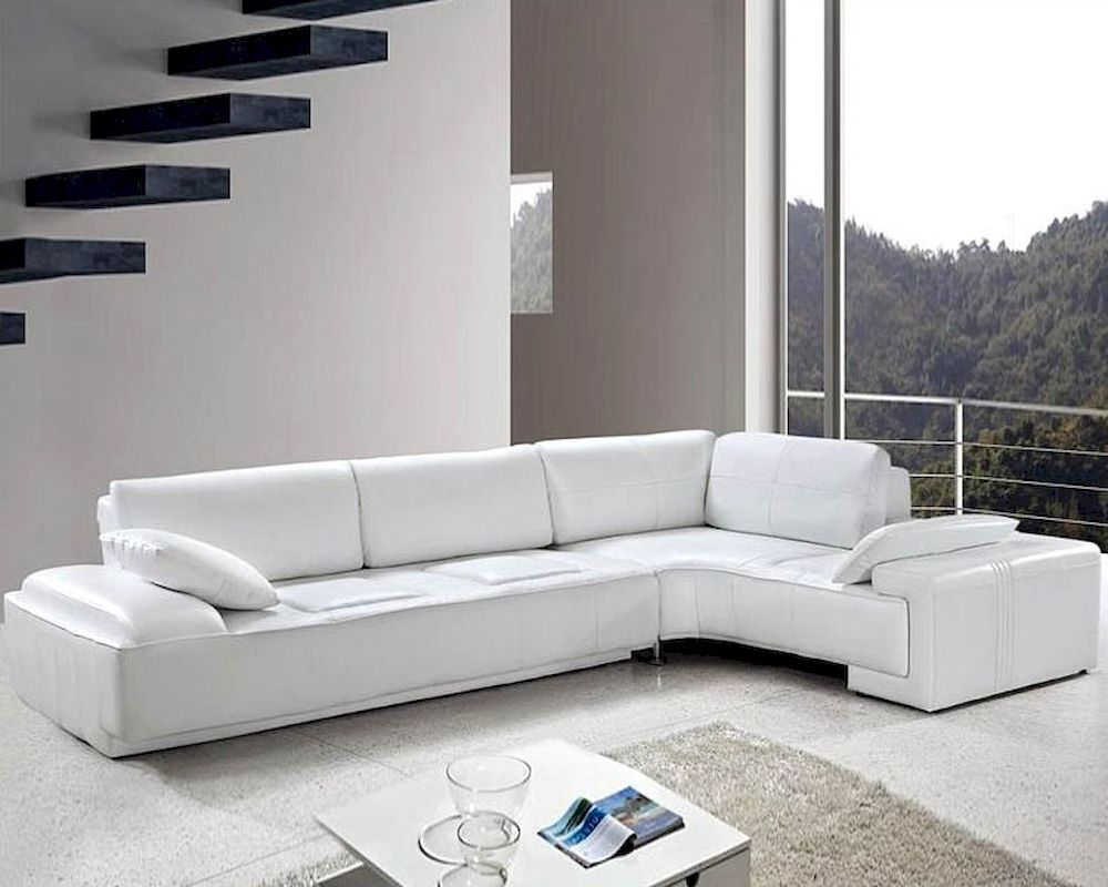 White leather modern design sectional sofa set 44l0738 for Sectional couch
