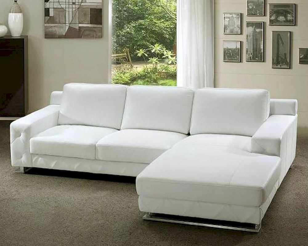 White leather sectional sofa set 44l0680 for Leather sectional sofa