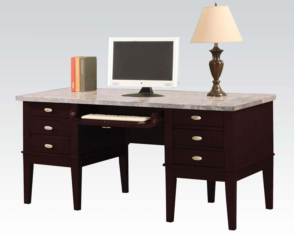 Marble Office Furniture ~ White marble top office desk by acme furniture ac