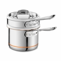 All-Clad Copper Core 2 Qt. Sauce Pan w/Porcelain Double Boiler & Lid - 62025SS