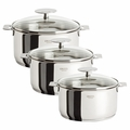 Cristel Casteline Removable Handle -Set of 3 Saucepans w/Lids - S3CQMPKP