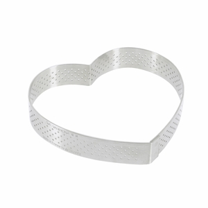 """de Buyer 4-3/4"""" Heart Stainless Steel Perforated Tart Ring - 3099.51"""
