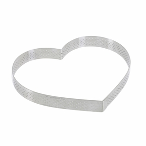 "de Buyer 7-1/8"" Heart Stainless Steel Perforated Tart Ring - 3099.52"
