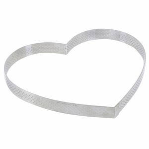 """de Buyer 8-5/8"""" Heart Stainless Steel Perforated Tart Ring - 3099.53"""