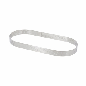 """de Buyer 9-7/8"""" x 3-1/8"""" Oval Stainless Steel Perforated Tart Ring - 3099.42"""