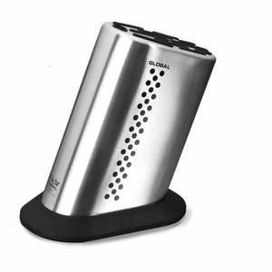 Global G-835/BD - 11 Slot Stainless Steel Knife Block w/Dots - G-835/BD