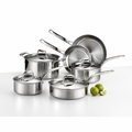Lagostina Martellata Hammered Stainless Steel 10-Pc Set - Q553SA64