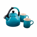 Le Creuset 1.7 Qt. Peruh Kettle and Mug Set - Caribbean - Q12-KM3-17