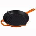 """Le Creuset 10 1/4"""" Signature Round Skillet Grill - Flame - LS2023-262"""