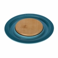 "Le Creuset 15"" Round Platter w/Cutting Board - Caribbean - PG6390CB-3717"