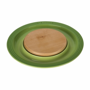 "Le Creuset 15"" Round Platter w/Cutting Board - Palm - PG6390CB-374P"