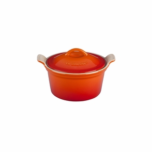 """Le Creuset 18 oz. (6 1/4"""") Heritage Covered Cocotte - Flame - PG1560-132"""