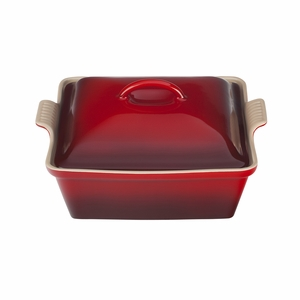 "Le Creuset 2 1/2 Qt. (9"") Heritage Covered Square Casserole - Cherry - PG0805-2367"