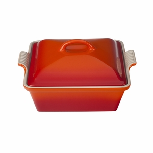 "Le Creuset 2 1/2 Qt. (9"") Heritage Covered Square Casserole - Flame - PG0805-232"