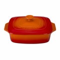 "Le Creuset 2 3/4 Qt. (9 1/2"") Covered Square Casserole - Flame - PG1357S-242"