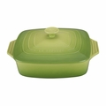 "Le Creuset 2 3/4 Qt. (9 1/2"") Covered Square Casserole - Palm - PG1357S-244P"