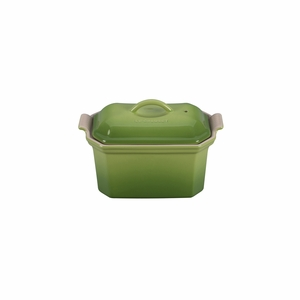 "Le Creuset 3/4 Qt. (8"" x 5"") Heritage Pate Terrine with Press - Palm - PG0900-204P"