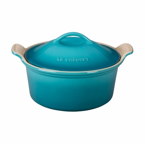 "Le Creuset 3 Qt. (9"") Heritage Covered Round Casserole - Caribbean - PG0550-2317"