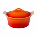 "Le Creuset 3 Qt. (9"") Heritage Covered Round Casserole - Flame - PG0550-232"