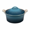 """Le Creuset 3 Qt. (9"""") Heritage Covered Round Casserole - Marine - PG05503A-236M"""