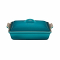 "Le Creuset 4 Qt. (12"" x 9"") Heritage Covered Rectangular Casserole - Caribbean - PG0705-3317"